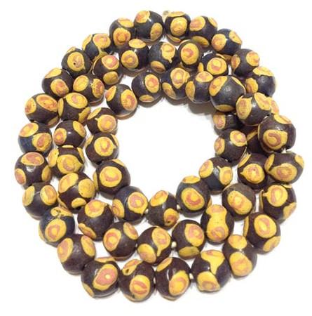African dark brown multi Ghana krobo bicone handmade glass trade beads