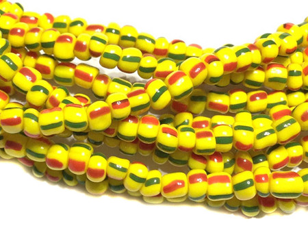 Vintage Ghana red Green and yellow Ghana seed Beads Glass African Trade Beads