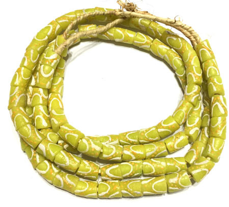 African Ghana vivid yellow multi Krobo cylinder Recycled Glass African trade beads