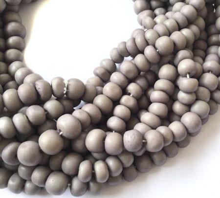 96 Ghana Rondelle Fine Dark Gray Mala Beads