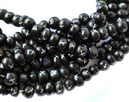 96 Ghana Rondelle Fine Black and White Mala Beads- Jewelry Supplies