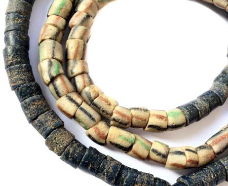 Antique African earthtone Ghana Krobo powderglass trade bead