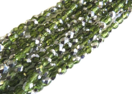 4mm Czech fire Polished 300 Beads Olivine Silver