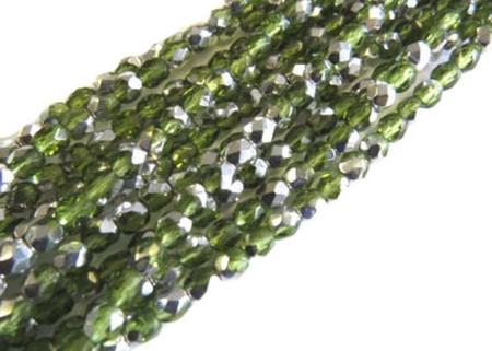 4mm Czech fire Polished 300 Beads Olivine Silver