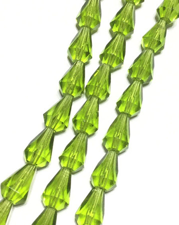 50PCS Preciosa Czech Green Teardrop Fire Polished Glass Beads