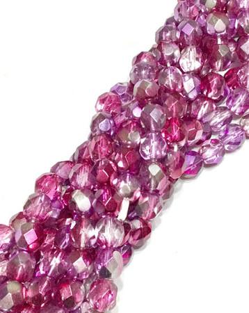 6mm Czech fire Polished 50 Beads Fuschia Crystal multi Colored Beads