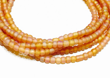 Fine Matte Transparent Topaz AB African Trade beads
