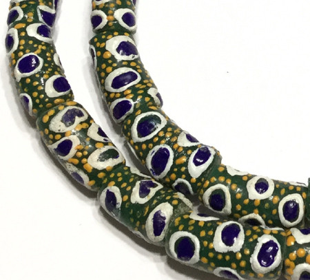 A strand of African fancy green blue eye multi Krobo powderglass trade beads