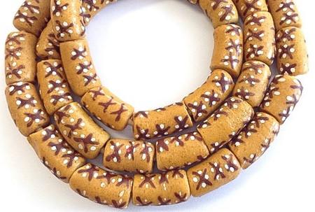Strand of African mustard yellow fancy Krobo Powderglass beads