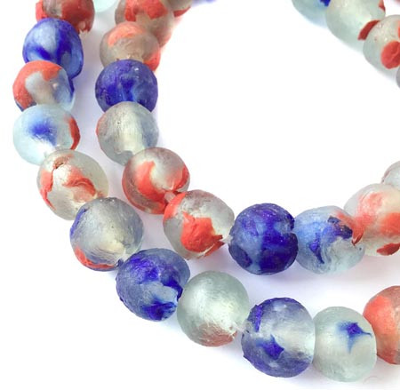 44 Sea Glass red and Blue Multi Colored Round African Ghana Krobo Recycled Glass fair Trade Beads