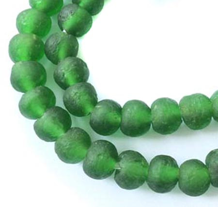 42 Matte Emerald Green Round African Ghana Krobo Recycled Glass African trade beads