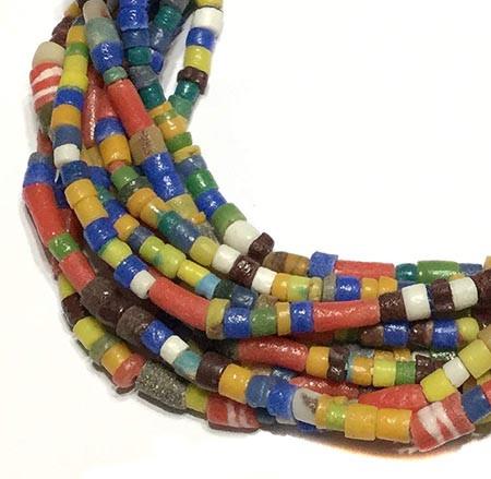 Mixed Ghana Recycled Glass Krobo Trade Beads - Strand of Eco-Friendly Fair Trade Beads from Ghana