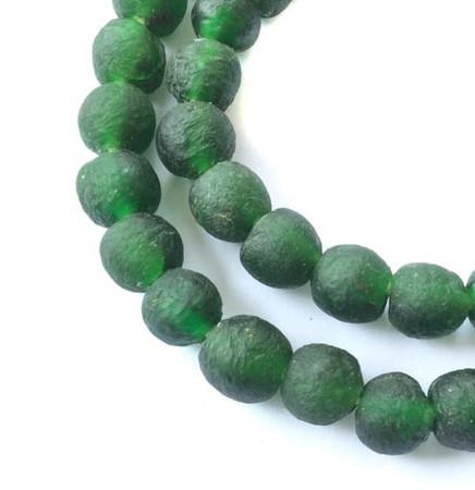 48 Sea Glass Matte Deep emerald green Round African Ghana Krobo Recycled Glass fair Trade Beads