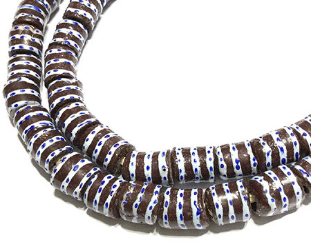 African Dark Brown and White Banded with Blue dots Krobo powderglass Fairtrade Beads