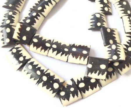 African batik bone dot design motif trade beads