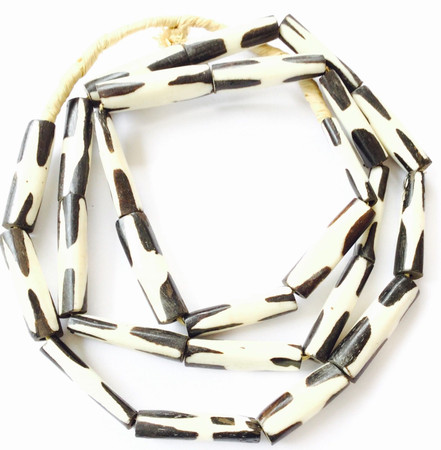 25 African batik bone trade beads