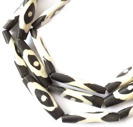 African batik bone trade beads