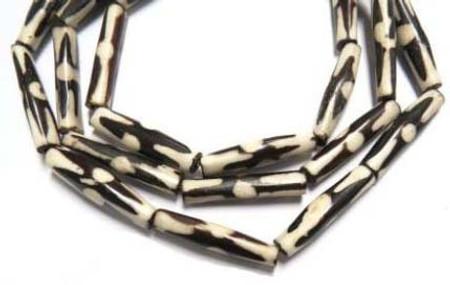 Strand of African batik bone trade beads