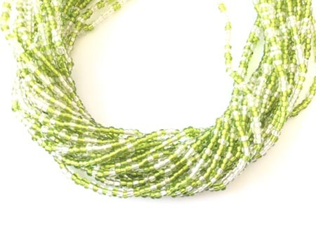 Ghana Lime Green and Clear Multi Colored Seed Beads Glass African Trade Bead