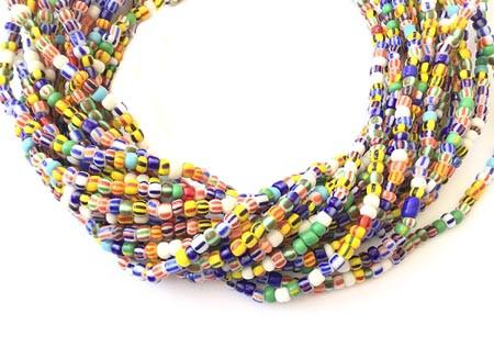 Ghana Multi Colored Ghana Seed Beads Glass African Trade Beads - Strand of Fair Trade Beads from Ghana