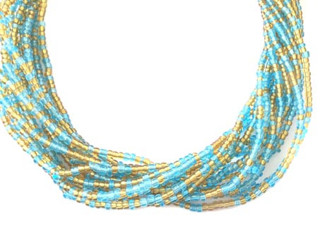 Ghana Light Turquoise Blue and Amber Multi Colored Ghana Seed Beads Glass African Trade Beads