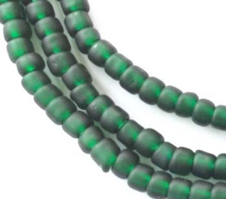 Vintage Transparent Matte Green African glass beads Ghana Trade Beads [3082]
