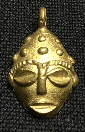 African Baule authentic handmade brass pendant