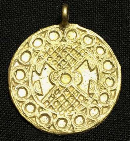 African authentic handmade brass medallion trade bead