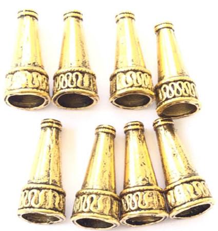 12PCS Fancy Antique Gold Bead Cones-Jewelry Supplies
