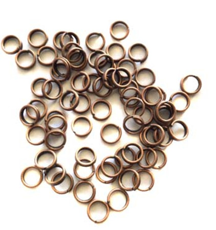 50 Antique Copper Plated 20 GA Open Split Rings-Beading Supplies Findings