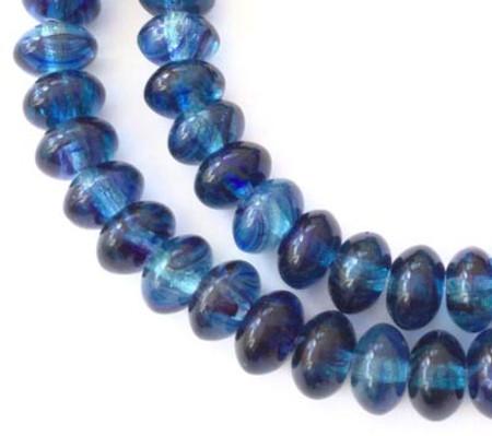 Dark Slate Blue Vintage Czech glass molded beads
