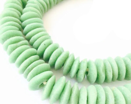 Ghana Ashanti handmade Recycled Glass Opaque Apple Green Disk Beads-Ghana