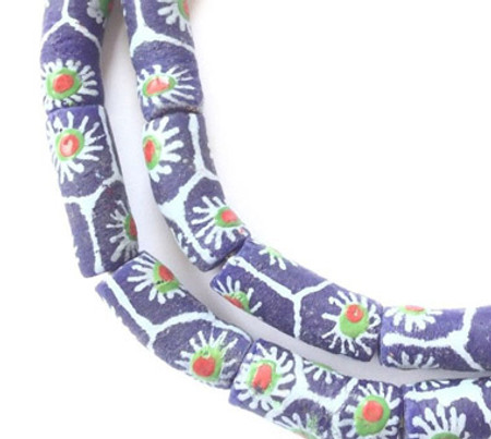 Fancy Matte Royal Blue floral Krobo recycled Glass African trade Beads-Ghana