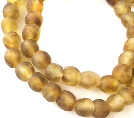 Handmade Ghana Goldenrod multi Krobo recycled Glass African trade Beads-Ghana
