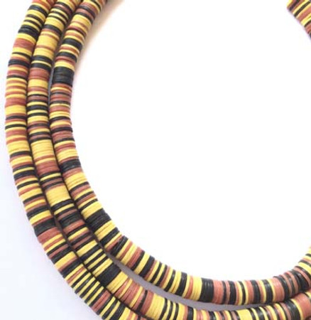 8mm Black/Red Yellow Recycled Phono Record Vinyl African trade beads-Ghana