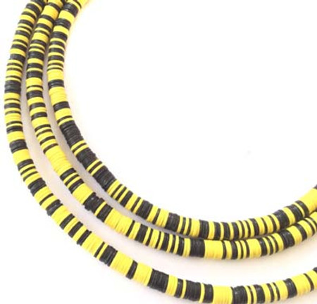 Magic mixed Black/Yellow Recycled Phono Record Vinyl African trade beads-Ghana