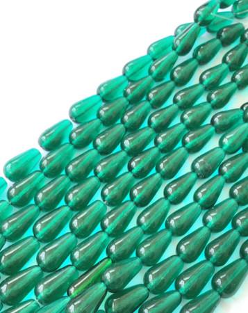 24 Fine Vintage Trade Transparent Drop Green Czech Bohemian Glass beads