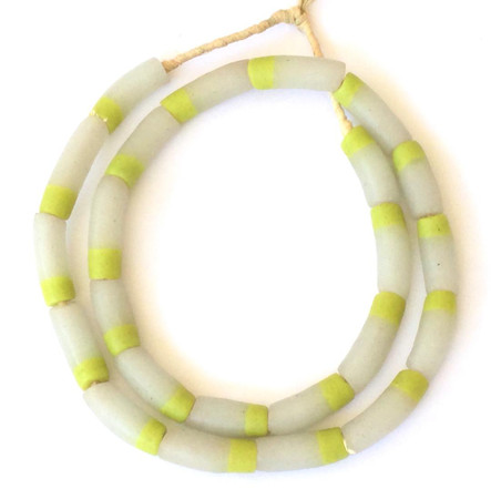 Ghana Opaque white and lime yellow Recycled Glass Elbow Trade Beads