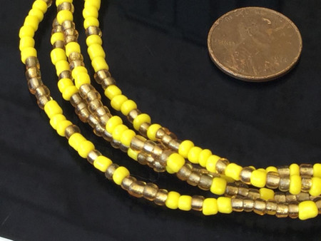 Yellow and amber Ghana Glass Beads