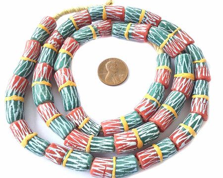 African red and Teal Yellow Banded Krobo powderglass Fairtrade Beads from Ghana