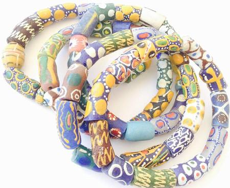 Handmade Ghana Fancy Assorted Multi Bracelet-African Trade Beads-Ghana