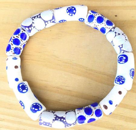 Handmade Ghana Fancy Blue White Multi Bracelet-African Trade Beads-Ghana