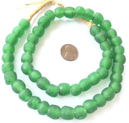 Ghana Handmade Green Krobo Recycled Glass African Trade Beads-Ghana