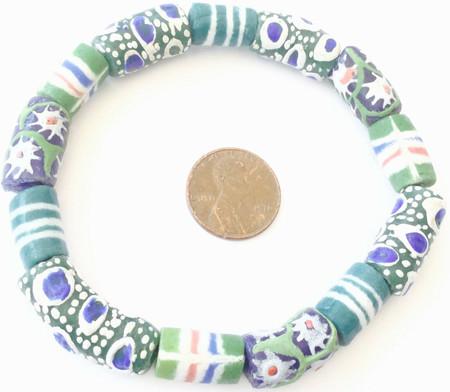 Handmade Ghana Fancy Blue White Multi Bracelet African Trade Beads