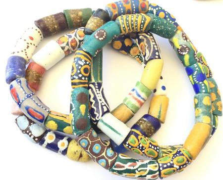 Handmade Krobo bead Ghana Fancy Happy Summer multi bracelet-African Trade Beads-Ghana
