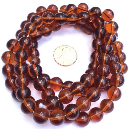 Fine Vintage Dark Amber Czech Bohemian Glass Smooth Round Beads