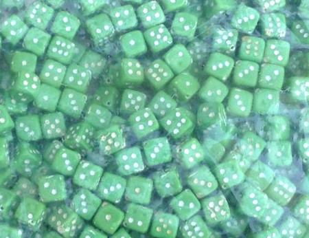 500 Gram Bag 8mm Green Glass Pressed Czech dice Beads