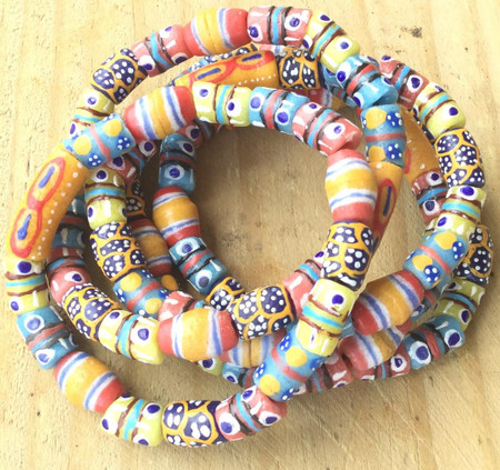 Handmade blue Ghana Fancy Happy Summer multi bracelet-African Trade Beads-Ghana