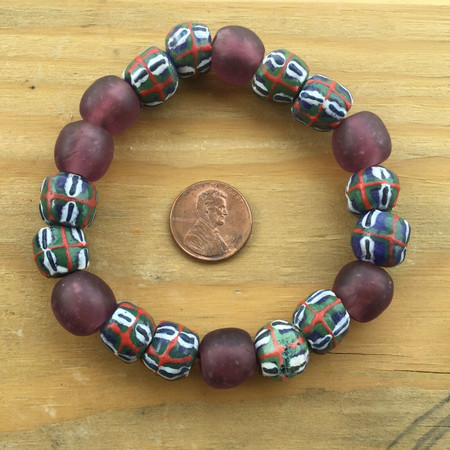 Handmade Ghana Fancy Royal Amethyst multi bracelet-African Trade Beads-Ghana