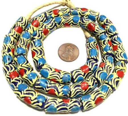 Fancy Happy Life Eye Ghana Krobo recycled Glass African trade Beads-Ghana